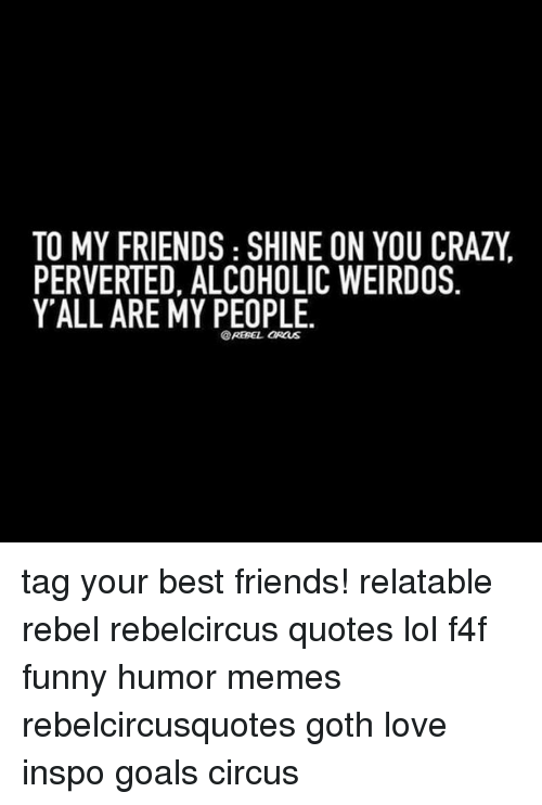 Rebelcircus: TO MY FRIENDS SHINE ON YOU CRAZY  PERVERTED, ALCOHOLIC WEIRDOS  Y ALL ARE MY PEOPLE.  @REBEL aRauS tag your best friends! relatable rebel rebelcircus quotes lol f4f funny humor memes rebelcircusquotes goth love inspo goals circus