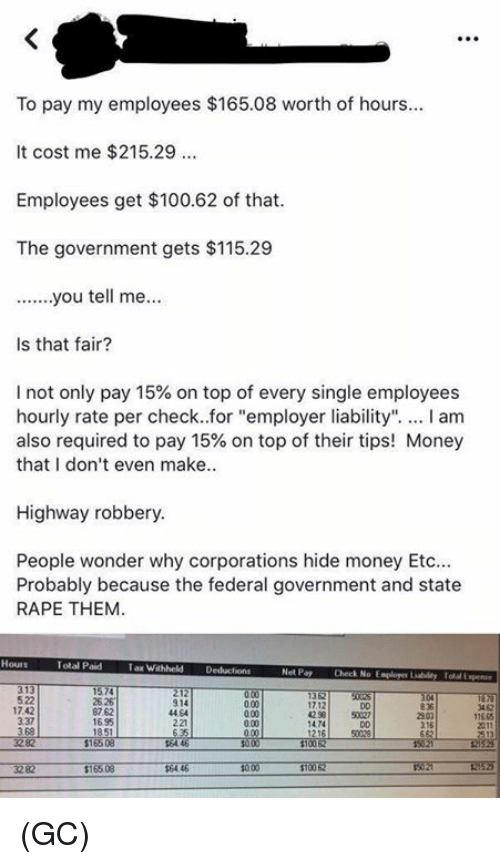 """federal government: To pay my employees $165.08 worth of hours  It cost me $215.29  Employees get $100.62 of that  The government gets $115.29  Is that fair?  I not only pay 15% on top of every single employees  hourly rate per check..for """"employer liability"""". I am  also required to pay 15% on top of their tips! Money  that I don't even make  Highway robbery  People wonder why corporations hide money Etc  Probably because the federal government and state  RAPE THEM  Total Paid  Tax Wahheld Deducions  Net Pay  Check No Esploger Liabildy Total Expen  522  17.42  337  3 68  25 26  87.62  1695  914  44 64  221  3 62  17.12  42 58  D0  50027  11665  0.00  2303  216  1474 (GC)"""