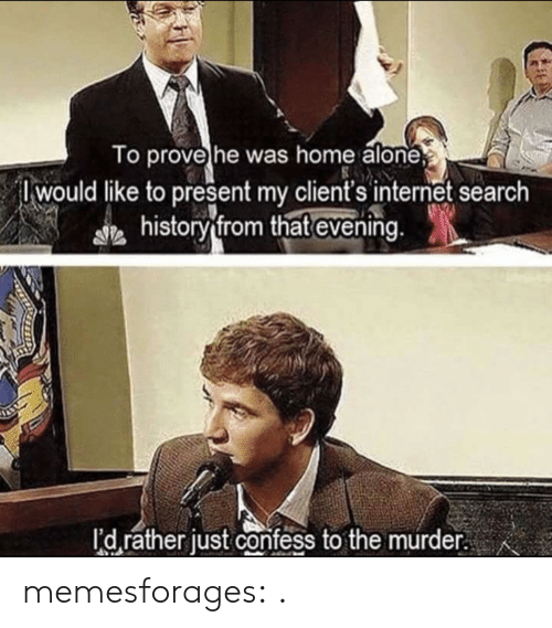 Being Alone, Home Alone, and Internet: To prove he was home alone  Iwould like to present my client's internet search  historv from that evening  I'd rather just confess to the murder. memesforages:  .