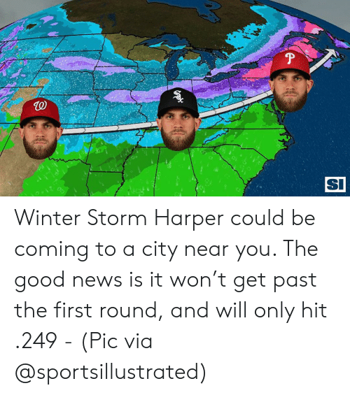 Memes, News, and Winter: TO  SI  0 Winter Storm Harper could be coming to a city near you. The good news is it won't get past the first round, and will only hit .249 - (Pic via @sportsillustrated)