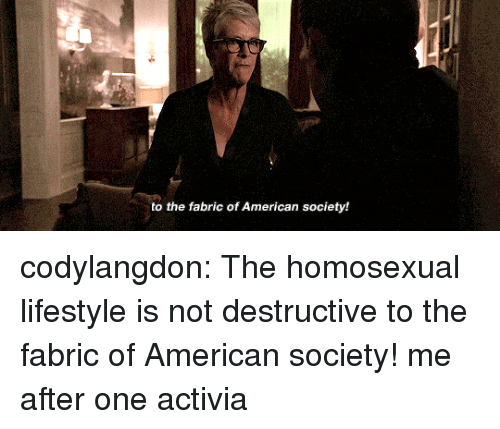 Tumblr, American, and Blog: to the fabric of American society! codylangdon: The homosexual lifestyle is not destructive to the fabric of American society!  me after one activia