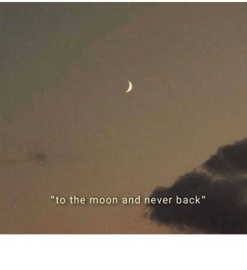 """Moon, Never, and Back: """"to the moon and never back"""""""
