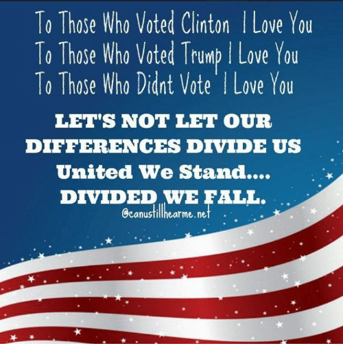 Vote Trump: To Those Who Voted Clinton l Love You  To Those Who voted Trump Love You  To Those Who Didnt Vote l Love You  LET'S NOT LET OUR  DIFFERENCES DIVIDE US  United We Stand...  DIVIDED WE FALL.  Ccanustillhearme.net