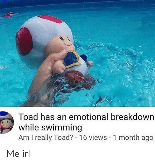 Emotional Breakdown: Toad has an emotional breakdown  while swimming  Am I really Toad? 16 views 1 month ago Me irl