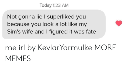Sims: Today 1:23 AM  Not gonna lie I superliked you  because you look a lot like my  Sim's wife and I figured it was fate me irl by KevlarYarmulke MORE MEMES