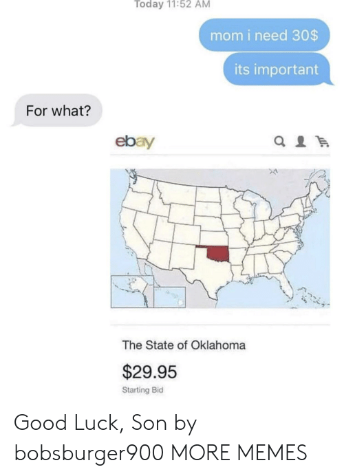 eBay: Today 11:52 AM  mom i need 30$  its important  For what?  ebay  The State of Oklahoma  $29.95  Starting Bid Good Luck, Son by bobsburger900 MORE MEMES