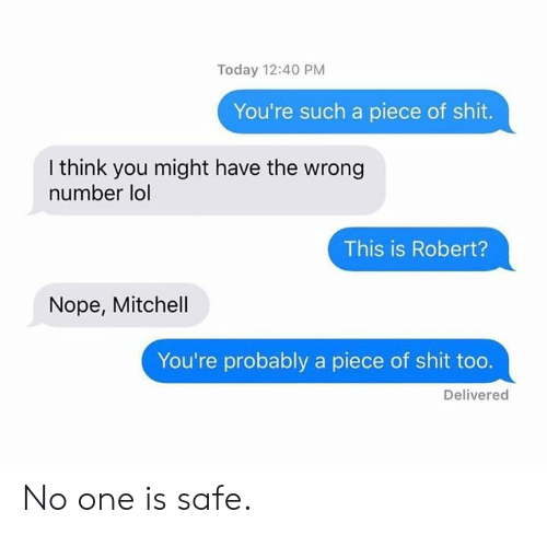 Dank, Lol, and Shit: Today 12:40 PM  You're such a piece of shit.  I think you might have the wrong  number lol  This is Robert?  Nope, Mitchell  You're probably a piece of shit too.  Delivered No one is safe.