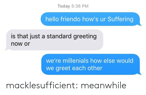 Standard: Today 5:36 PM  hello friendo how's ur Suffering  is that just a standard greeting  now or  we're millenials how else would  we greet each other macklesufficient:  meanwhile