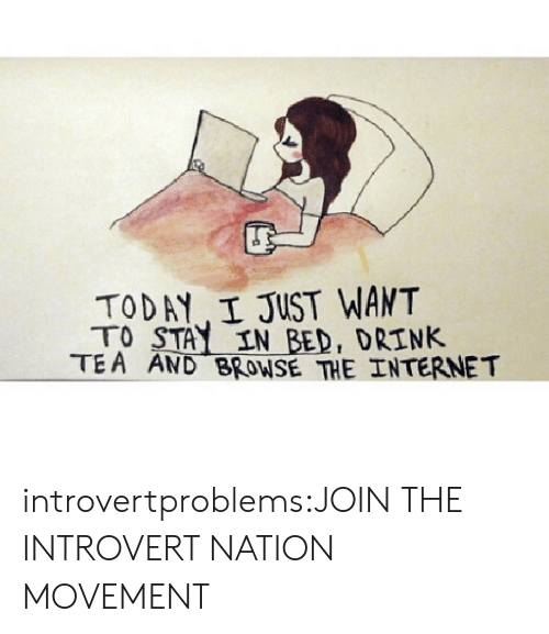 Drink Tea: TODAY I JUST WANT  TO STAY IN BED, DRINK  TEA AND BROWSE THE INTERNET introvertproblems:JOIN THE INTROVERT NATION MOVEMENT