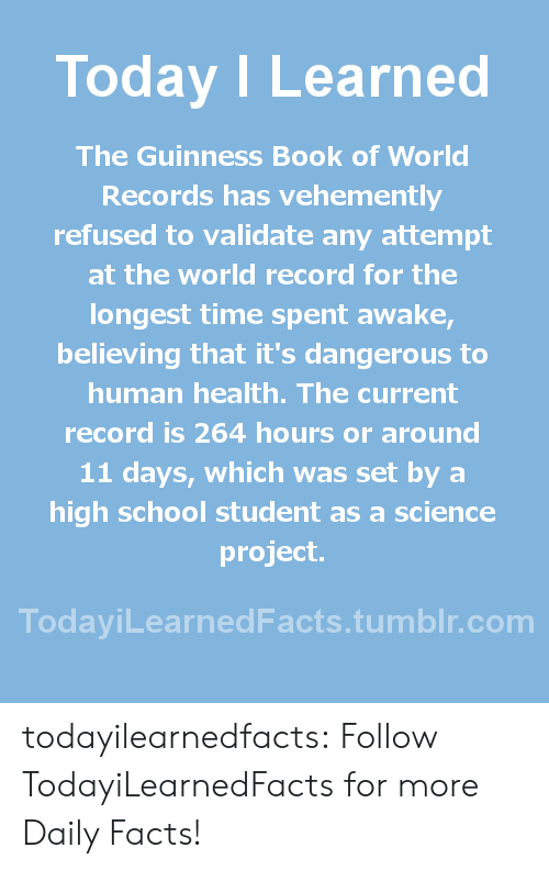 guinness: Today ILearned  The Guinness Book of World  Records has vehemently  refused to validate any attempt  at the world record for the  longest time spent awake  believing that it's dangerous to  human health. The current  record is 264 hours or around  11 days, which was set by a  high school student as a science  project.  TodayiLearnedFacts.tumblr.com todayilearnedfacts: Follow TodayiLearnedFacts for more Daily Facts!