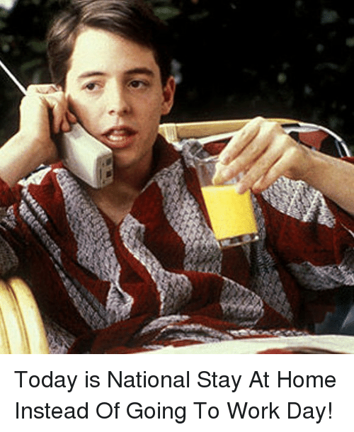 Memes, Work, and Home: Today is National Stay At Home Instead Of Going To Work Day!