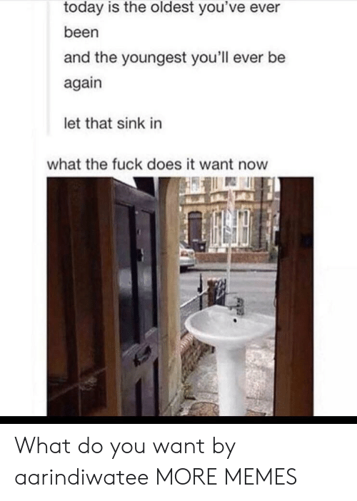 The Oldest: today is the oldest you've ever  been  and the youngest you'll ever be  again  let that sink in  what the fuck does it want now What do you want by aarindiwatee MORE MEMES