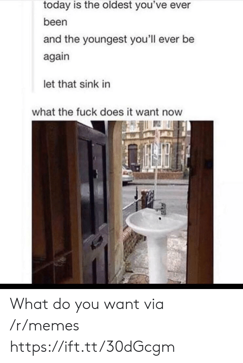 The Oldest: today is the oldest you've ever  been  and the youngest you'll ever be  again  let that sink in  what the fuck does it want now What do you want via /r/memes https://ift.tt/30dGcgm