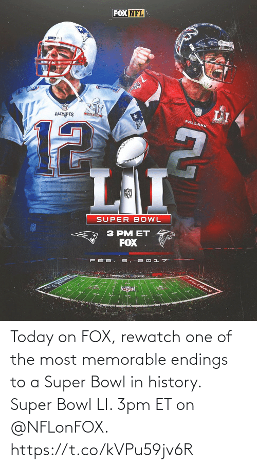 fox: Today on FOX, rewatch one of the most memorable endings to a Super Bowl in history.   Super Bowl LI. 3pm ET on @NFLonFOX. https://t.co/kVPu59jv6R