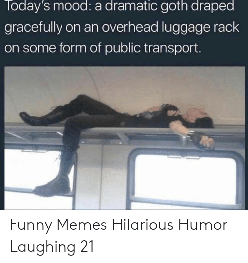 dramatic: Today's mood: a dramatic goth draped  gracefully on an overhead luggage rack  on some form of public transport. Funny Memes Hilarious Humor Laughing 21
