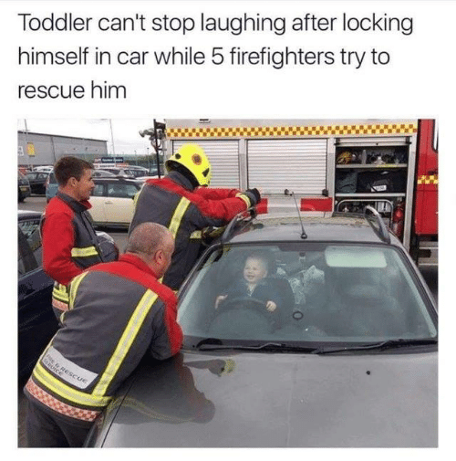 firefighters: Toddler can't stop laughing after locking  himself in car while 5 firefighters try to  rescue him