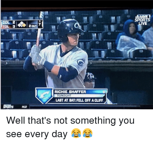 Mlb, Bat, and Bats: TOL 3  RICHIE SHAFFER  LAST AT BAT: FELL OFF A CLIFF Well that's not something you see every day 😂😂