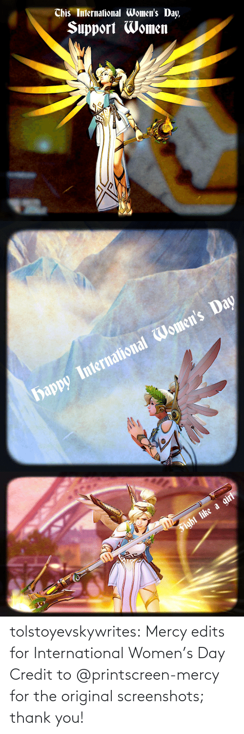 Mercy: tolstoyevskywrites: Mercy edits for International Women's Day Credit to @printscreen-mercy for the original screenshots; thank you!