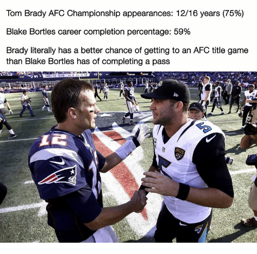 Nfl, Tom Brady, and Game: Tom Brady AFC Championship appearances: 1216 years (75%)  Blake Bortles career completion percentage: 59%  Brady literally has a better chance of getting to an AFC title game  than Blake Bortles has of completing a pass  17