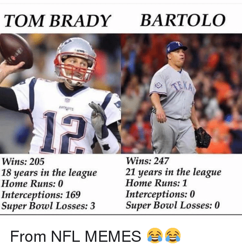 Memes, Mlb, and Nfl: TOM BRADY BARTOLO  12  Wins: 247  21 years in the league  Wins: 205  18 years in the league  Home Runs: 0  Interceptions: 169  Super Bowl Losses: 3  Home Runs: 1  Interceptions: 0  Super Bowl Losses: 0 From NFL MEMES 😂😂