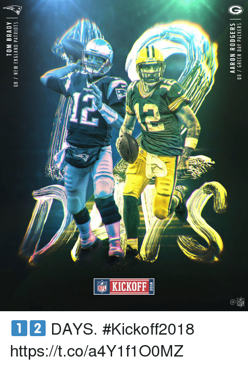 Aaron Rodgers, England, and Green Bay Packers: TOM BRADY  OB / NEW ENGLAND PATRIOTS  2018  AARON RODGERS  QB/ GREEN BAY PACKERS  0  2 1️⃣2️⃣ DAYS. #Kickoff2018 https://t.co/a4Y1f1O0MZ