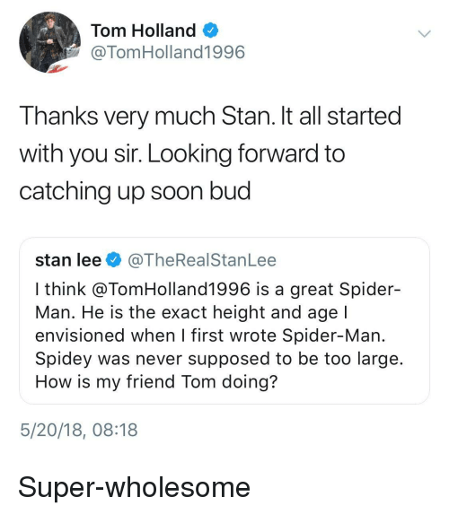 Soon..., Spider, and SpiderMan: Tom Holland  @TomHolland1996  Thanks very much Stan. It all started  with you sir. Looking forward to  catching up soon bud  stan lee@TheRealStanLee  I think @TomHolland1996 is a great Spider-  Man. He is the exact height and age  envisioned when l first wrote Spider-Man  Spidey was never supposed to be too large  How is my friend Tom doing?  5/20/18, 08:18 <p>Super-wholesome</p>