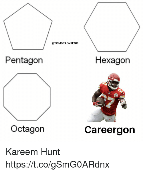 Tom Brady, Hexagon, and Pentagon: @TOMBRADYSEGO  Pentagon  Hexagon  Octagon  Careergon Kareem Hunt https://t.co/gSmG0ARdnx