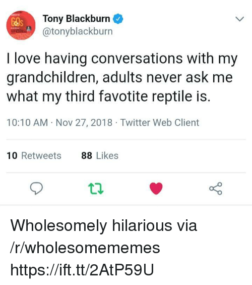 Love, Twitter, and Hilarious: Tony Blackburn  @tonyblackburn  I love having conversations with my  grandchildren, adults never ask me  what my third favotite reptile is.  10:10 AM Nov 27, 2018 Twitter Web Client  10 Retweets  88 Likes Wholesomely hilarious via /r/wholesomememes https://ift.tt/2AtP59U