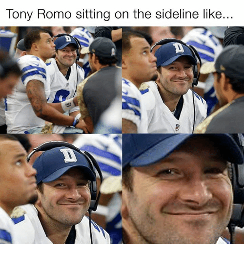 Memes, Tony Romo, and 🤖: Tony Romo sitting on the sideline like...