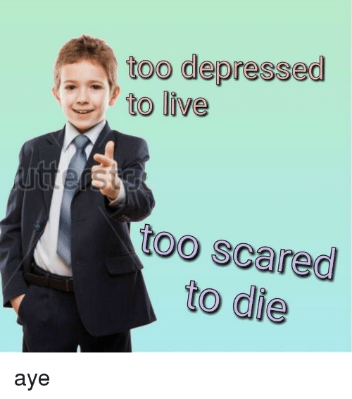 Live, Scared, and Depressed: too depressed  to live  too scared  to die aye