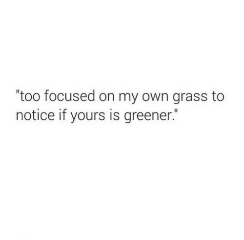 """on my own: """"too focused on my own grass to  notice if yours is greener."""""""