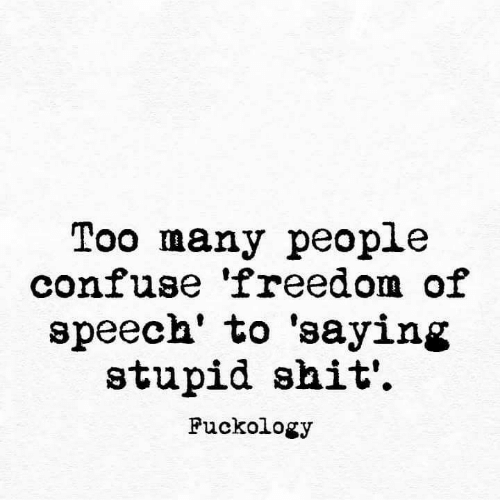 Shit, Freedom, and Freedom of Speech: Too many people  confuse 'freedom of  speech' to 'saying  stupid shit'  Fuckology