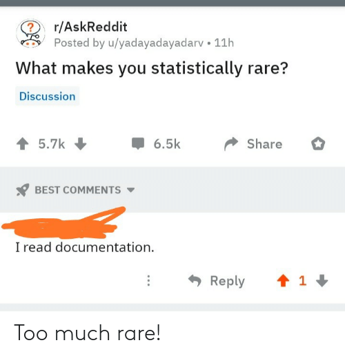 Too Much: Too much rare!