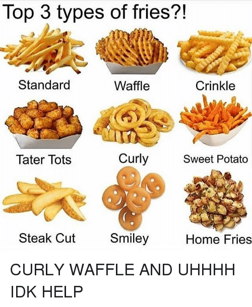Tots: Top 3 types of fries?!  Standard  Waffle  Crinkle  Tater Tots  Curly  Sweet Potato  Steak Cut  Smiley  Home Fries CURLY WAFFLE AND UHHHH IDK HELP