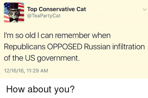 Im So Old: Top Conservative Cat  @Tea Party Cat  I'm so old can remember when  Republicans OPPOSED Russian infiltration  of the US government.  12/16/16, 11:29 AM How about you?