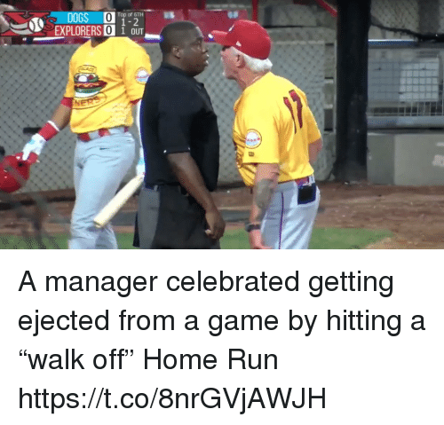 """Run, Sports, and Game: Top of 6TH  1-2  EXPLORERS 0 1 OUT A manager celebrated getting ejected from a game by hitting a """"walk off"""" Home Run https://t.co/8nrGVjAWJH"""