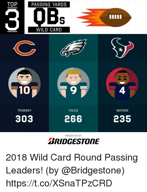 Memes, Wild, and 🤖: TOP  PASSING YARDS  OBs  WILD CARD  10  9  4  TRUBISKY  FOLES  WATSON  303  266  235  PRESENTED BY  BRIDGESTONE 2018 Wild Card Round Passing Leaders!  (by @Bridgestone) https://t.co/XSnaTPzCRD