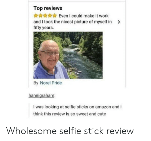 sticks: Top reviews  Even I could make it work  and I took the nicest picture of myself in  fifty years.  By Norel Pride  hannigraham:  I was looking at selfie sticks on amazon and i  think this review is so sweet and cute Wholesome selfie stick review