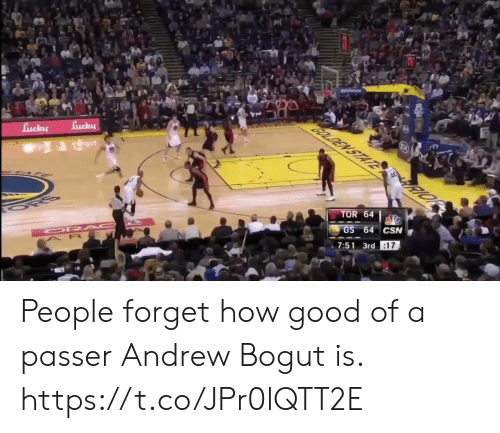 Andrew Bogut: TOR 64  7:51 3rd People forget how good of a passer Andrew Bogut is.   https://t.co/JPr0lQTT2E