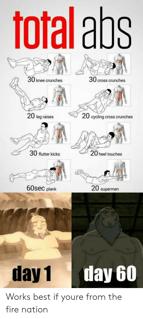Plank: Toral aps  30 knee crunches  30 cross crunches  20 leg raises  20 cycling cross crunches  30 flutter kicks  20 heel touches  60sec plank  20 supermen  day 1  day 60 Works best if youre from the fire nation