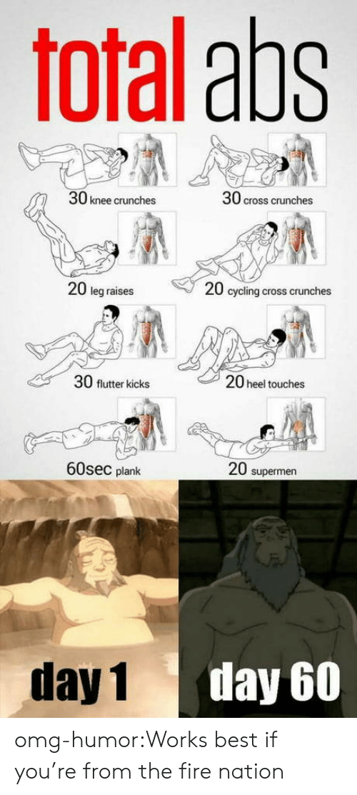 Plank: Toral aps  30 knee crunches  30 cross crunches  20 leg raises  20 cycling cross crunches  30 flutter kicks  20 heel touches  60sec plank  20 supermen  day 1  day 60 omg-humor:Works best if you're from the fire nation