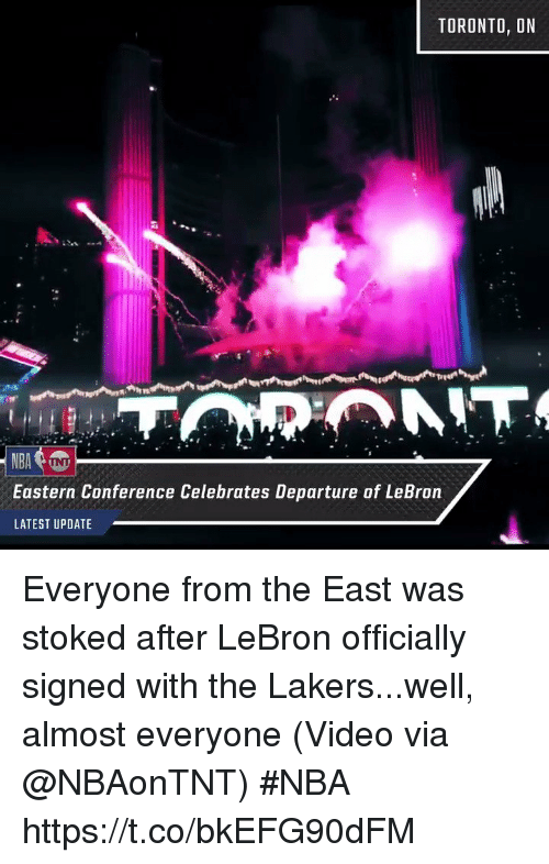 Los Angeles Lakers, Nba, and Sports: TORONTO, DN  Eastern Conference Celebrates Departure of LeBron  LATEST UPDATE Everyone from the East was stoked after LeBron officially signed with the Lakers...well, almost everyone  (Video via @NBAonTNT) #NBA  https://t.co/bkEFG90dFM