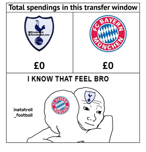 unc: Total spendings in this transfer window  0OTrollFoo all  TheTrollFoball Insta  £0  £0  I KNOW THAT FEEL BRO  AYER  instatroll  football  UNC