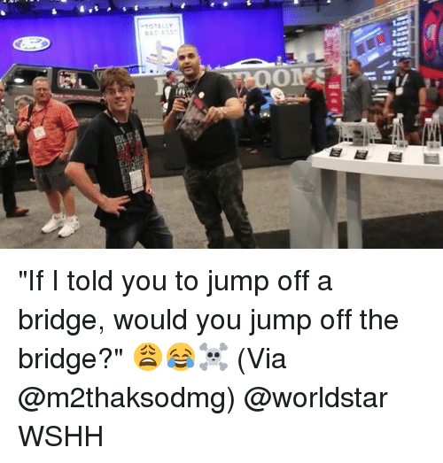 "Memes, Worldstar, and Wshh: TOTALLY ""If I told you to jump off a bridge, would you jump off the bridge?"" 😩😂☠️ (Via @m2thaksodmg) @worldstar WSHH"