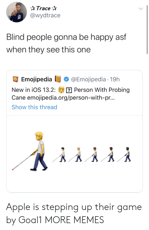 ios: Trace  @wydtrace  Blind people gonna be happy asf  when they see this one  Emojipedia  @Emojipedia 19h  Person With Probing  Cane emojipedia.org/person-with-pr...  New in iOS 13.2:  Show this thread Apple is stepping up their game by Goal1 MORE MEMES