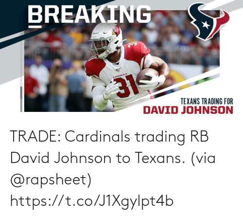 Texans: TRADE: Cardinals trading RB David Johnson to Texans. (via @rapsheet) https://t.co/J1Xgylpt4b