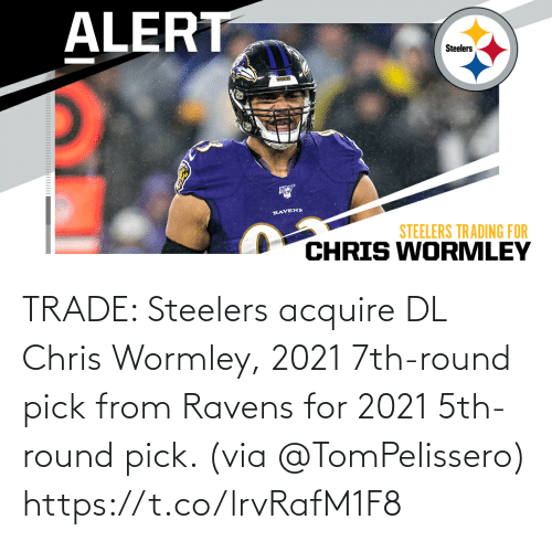 Steelers: TRADE: Steelers acquire DL Chris Wormley, 2021 7th-round pick from Ravens for 2021 5th-round pick. (via @TomPelissero) https://t.co/lrvRafM1F8