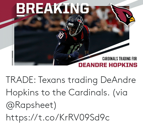 hopkins: TRADE: Texans trading DeAndre Hopkins to the Cardinals. (via @Rapsheet) https://t.co/KrRV09Sd9c