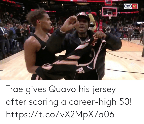 career: Trae gives Quavo his jersey after scoring a career-high 50!  https://t.co/vX2MpX7a06