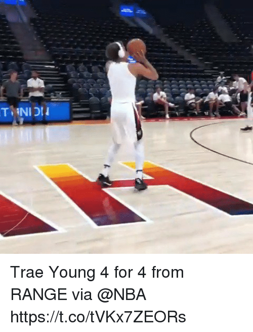Memes, Nba, and 🤖: Trae Young 4 for 4 from RANGE via @NBA https://t.co/tVKx7ZEORs
